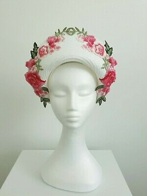 Miss Bloom. Womens white and pink floral embroidered halo headband fascinator