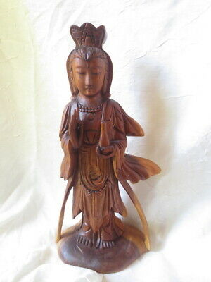 Wood Carved Guanyin Guan Yin Figurine Statue 12.5""