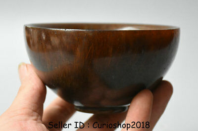 """4.6"""" Marked Antique Old Chinese Ox Horn Hand Carved Dynasty Palace Bowl Bowls"""