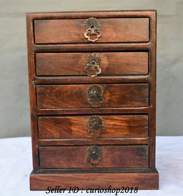 """11"""" Old China Huanghuali Wood Dynasty Carved Classical 5 Layer Cabinet Box Boxes"""