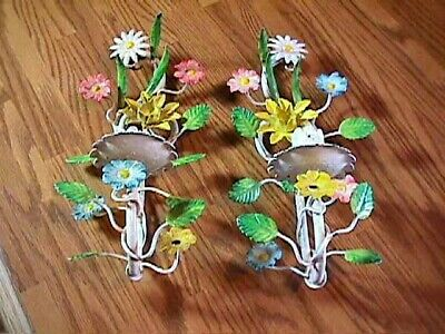 2 Vintage Tole Ware Floral Metal Wall Candle Holders Sconces