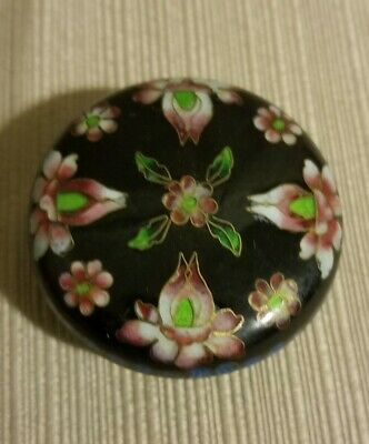 Vintage Chinese Cloisonne Trinket/Pill Box, Black With Floral Design, 2""