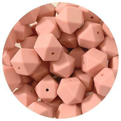 10 silicone beads NUDE 17mm hexagon BPA free baby sensory necklace peach pink