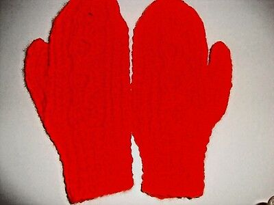 Hand Knitted Childs Aran Mittens/Cable Design, Red,  5-7 Years, BNWOT
