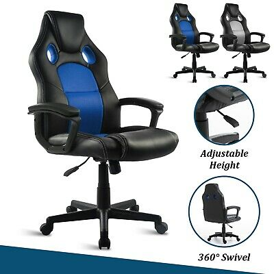 Swivel Racing Sport Gaming Office Chair Leather Mesh Computer Desk Home Chair