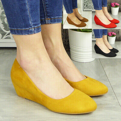 Womens Comfy Wedge Court Shoes Ladies Heel Sole Faux Suede Work Office Sizes