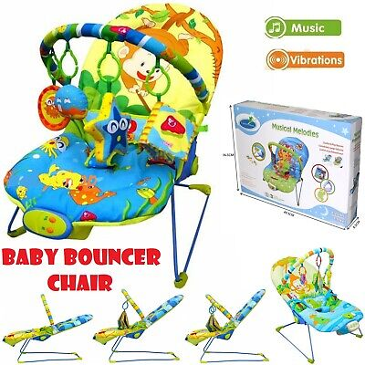 Baby Rocker Bouncer Reclining Vibrating Chair Soothing Music Vibration Toys New