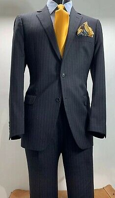 Brooks Brothers Fitzgerald Wool Gray Striped Suit 40 R Made In Italy
