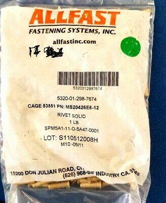 MS20426E6-12 Solid Aircraft Rivet 1 LB Pound NOS  Military Surplus ALLFAST
