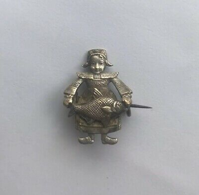 Antique Pin Brooch Dutch Girl Holding Fish Bronze