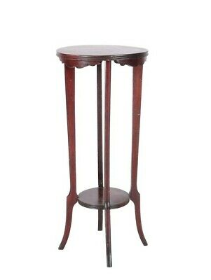 VINTAGE MAHOGANY 2-TIER PLANT STAND w/ EXC STABILITY & DECORATIVE FLOURISHES