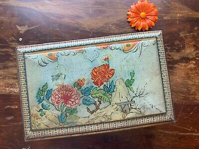 Vintage Tin Gold & Crackled Floral Made In England Hinged Lid Flowers