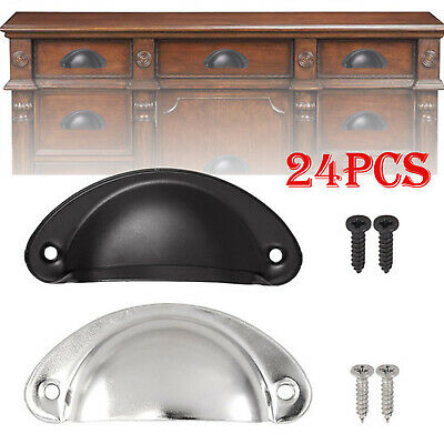 24PCS Antique Cabinet Cup Pull Handle Cupboard Drawer Shell Pull Handle + Screw