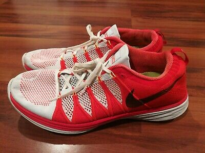 Nike FlyKnit Lunar 2 Mens Athletic Running Sneakers Shoes Red White Size 12