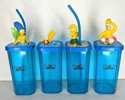 2005 Hungry Jack's The Simpsons Beach Homer Marge Lisa Bart Promo Cups Set