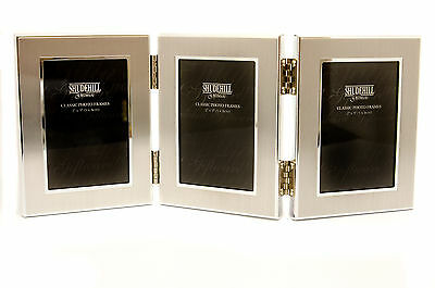 """Personalised Silver (2"""" x 3"""") Triple Photo Frame, Engraved with Any message"""