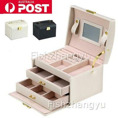 Large Jewellery Box Jewelry Girls Rings Storage Organiser Lock Case w/ Mirror AU