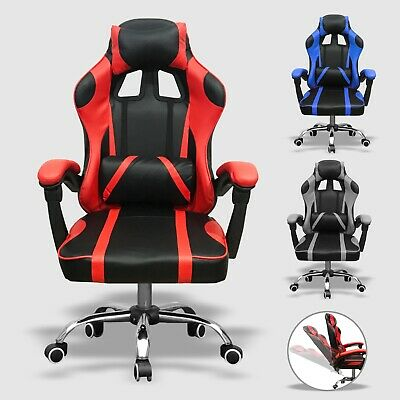 Executive Racing Gaming Computer Office Chair Leather Adjustable Swivel Recliner