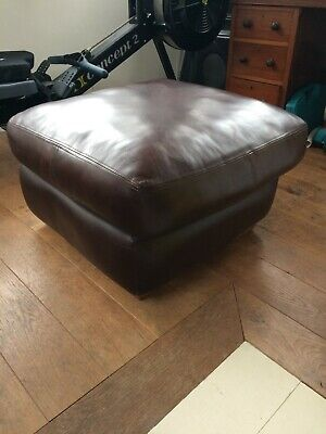 Brown Leather Retro Vintage Foot Stool Pouffe VGC