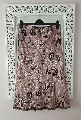 Y2K M&S Mink Taupe Silk & Velvet Bias Cut Midi Skirt, UK Size 14-16 Immaculate