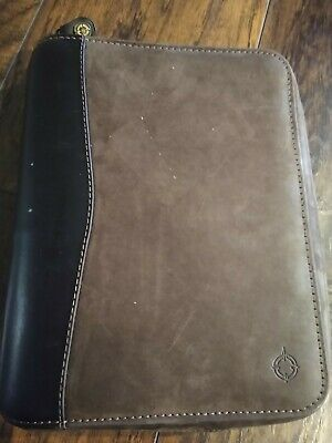 CLASSIC Brown FULL GRAIN LEATHER Franklin Covey SPACEMAKER Planner Binder vtg 1""