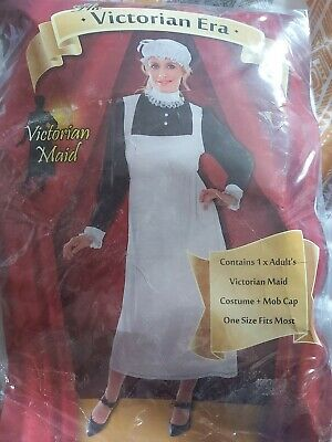 ADULTS VICTORIAN MAID COSTUME SKIRT APRON  and MOP HAT  size 10//16 POST FREE