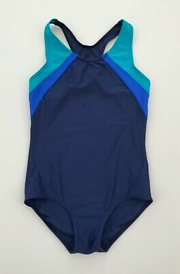 Girls George Navy Blue Green Swimsuit Swimming Costume Age 11 - 12 Years
