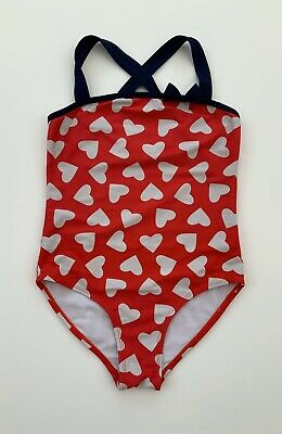 Girls TU Red Navy White Heart Print Swimsuit Swimming Costume Age 10 Years