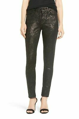 NYDJ Alina Stretch Twill Skinny Pants  Leggings  Black  Lace Floral Foil 10