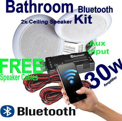 Bathroom Bluetooth Wireless Amplifier with Aux 2x Ceiling Speakers Free Cables