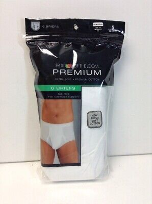 Fruit of the Loom Premium Mens White Briefs Small(28-30) 6 Pack Retails 28.00