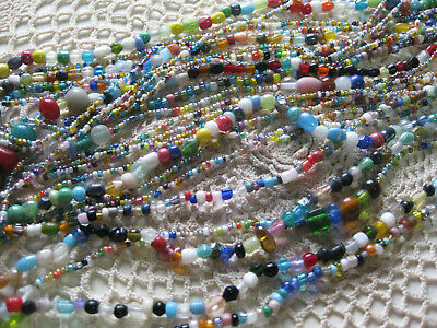 #102-From a New Orleans Mardi Gras Parade-Glass Carnival Beads-lot of 1 dozen