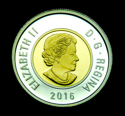2016 Canada Fine pure silver toonie $2 from proof set gold inlay