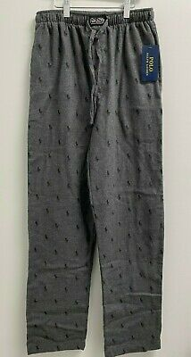 NEW Polo Ralph Lauren Mens S,M,L,XL Flannel Pajama Pants All over Pony PJ Grey