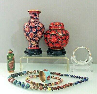 Stunning Chinese Cloisonne Enamel Collectibles Vase,Jar,Snuff Bottle,Beads Mix