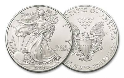 (2) 2020 1 Oz. American Silver Eagle Coins **First Strike** From U.s. Mint Tube
