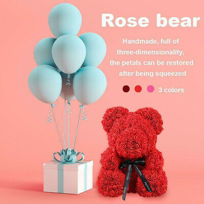 30cm Rose Teddy Bear Flower with Gift Box for Anniversary Birthdays Day