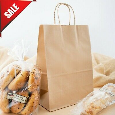 "250 Natural Brown Kraft Paper Shopping Bags with Handle, 10"" x 5 1/2"" x 13 1/4"""