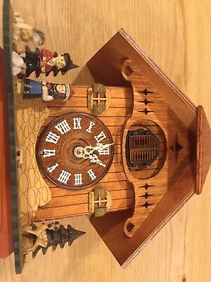 cuckoo clock black forest quartz german wood chalet style clock.