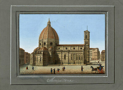 Italian School, Florence Cathedral – Early C19th gouache & etching veduta