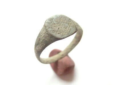 ROMAN PERIOD Ancient Roman Bronze Ring with Decorated Bezel - WEARABLE!!!