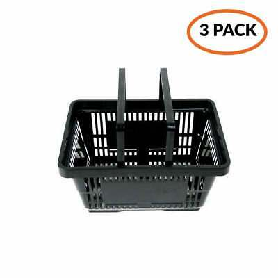 Pack of 3 - Black Stackable Retail Plastic Shopping Baskets - 21 Litre