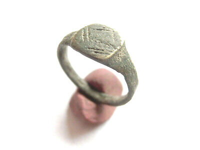 ROMAN PERIOD Ancient Roman Billon Ring with Decorated Bezel - WEARABLE!!!***