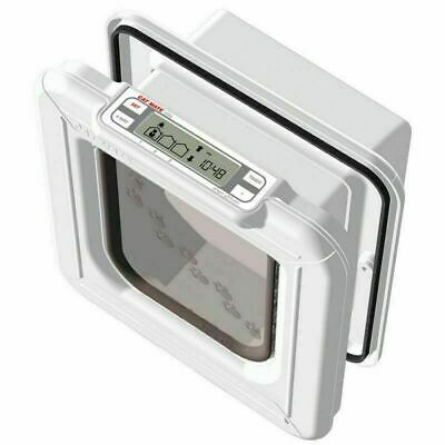 Cat Mate 4 Way Lock Elite Microchip Cat Flap With Timer Control White 26.5cm