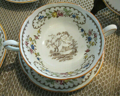 D5273 Wildflower Pattern Royal Doulton Footed Cream Soup Bowl /& Saucer Set