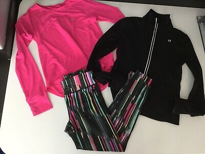 Gap Fit Girls Gym Sports Set Outfit Leggings Top Jacket Age 10-11 Yrs Large Pink
