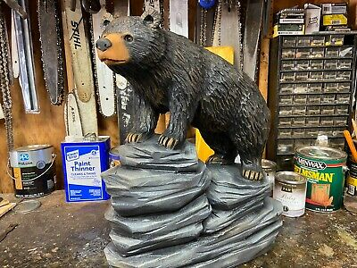 LARGE Realistic Chainsaw Carved BLACK BEAR CUB on ROCKS Pine Wood ORIGINAL ART