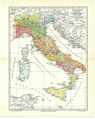 1896 Antique Color lithography print map of the Italian estates provinces Italy