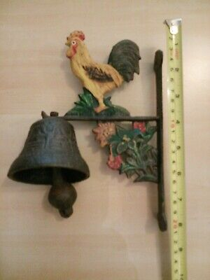 Metal Wall Mount Rooster Welcome Bell