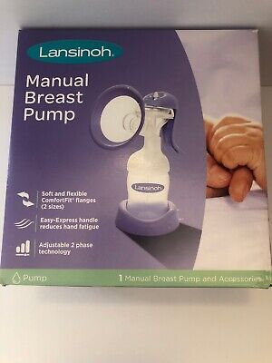 Lansinoh Manual Breast Pump Set Ergonomic Easy Handle (New Condition Open-Box)